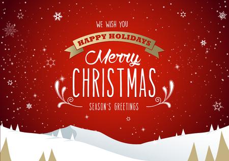Paesaggio del paesaggio di montagna invernale, testo di buon Natale con alberi di pino e stelle. Archivio Fotografico - 90714014