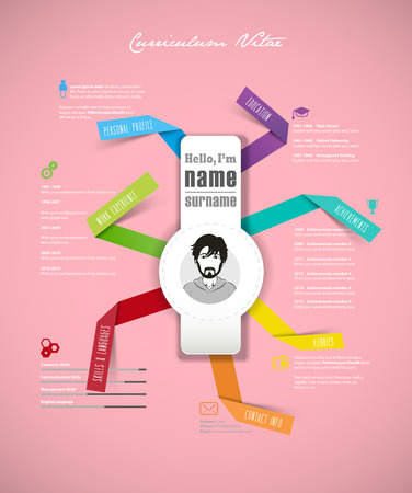 Creative cv template with folded paper stripes on pink background.