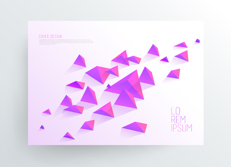 Book cover design template with abstract polygonal objects.