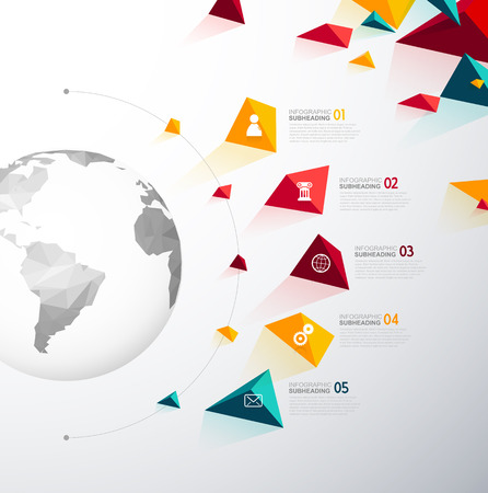 Infographic template with five colorful shapes and icons line up beside polygonal map.
