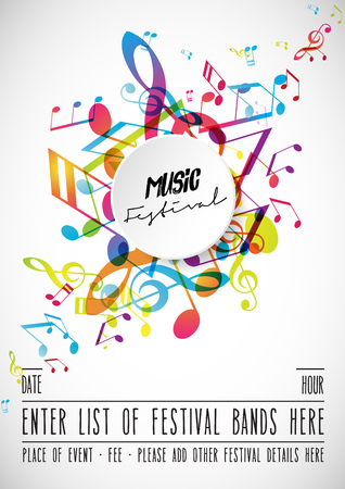 Abstract music festival advertising poster template with tunes. Stock fotó - 100957211