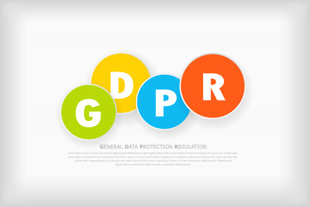 GDPR abstract background template with colorful circles. Illustration
