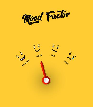 Stemmingsfactor maatregel illustratie sjabloon met gele achtergrond.