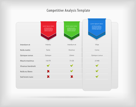 Competitive analysis vector template with colorful ribbons.