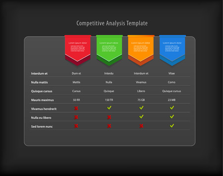 Competitive analysis vector template with colorful ribbons. Dark version Çizim