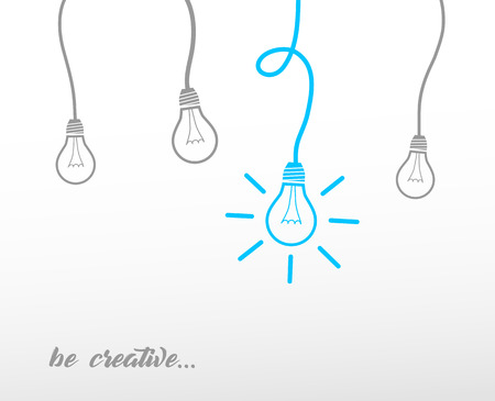 Hanging light bulbs reminding of an idea with slogan 'be creative' - light version