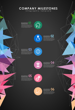 Infographic colorful milestones time line vector template with icons. Dark version. Illustration