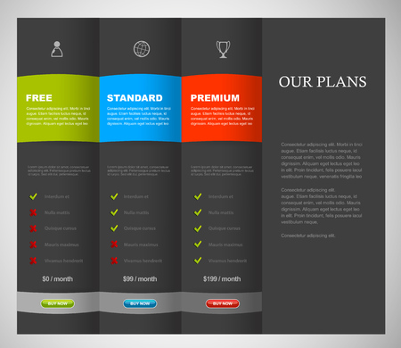 Website product pricing comparison table template with 3 options. Illustration