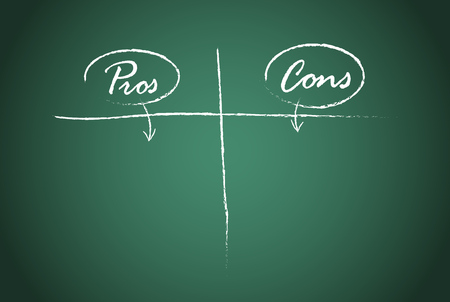 Pros and Cons comparison vector template.