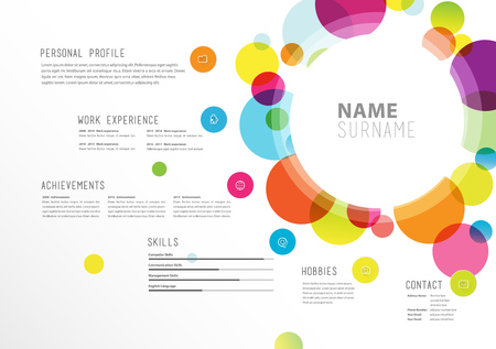 Creative simple cv template with colorful circles shapes. 向量圖像
