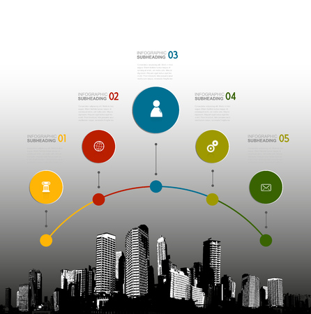 Infographic template with five circles, icons and skyscrapers.