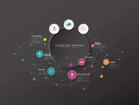 Bunte Kreisvektorfortschrittsillustration mit Symbolen und Platz für Ihre Firmeninformationen. Es kann für Präsentationen, Webdesign, Zitate, Umfragen, Banner und Studien verwendet werden. Dunkle Version Vektorgrafik