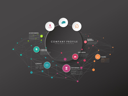 Colorful circle vector progress steps illustration with icons and place for your company information. It can be used for presentation, web design, quotes, survey, banner, study. Dark version Ilustração