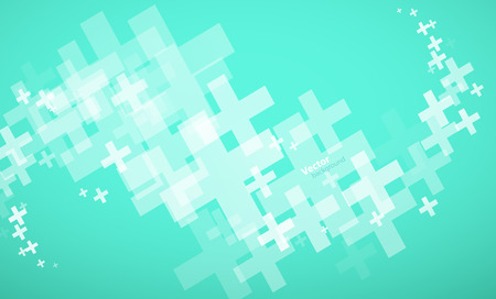 Abstract vector turquoise gradient background created with plus signs. 向量圖像