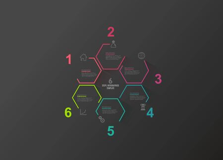 Hexagon info graphic vector template Ilustração