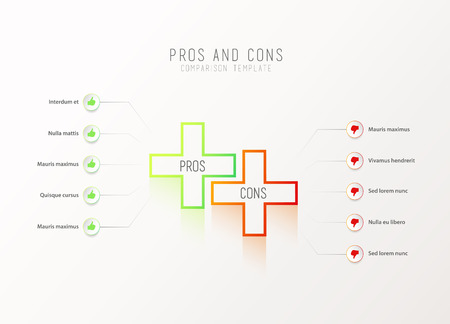 Pros and Cons comparison vector template light vector template with green and orange plus signs and circles and place for your comparison text. Illustration