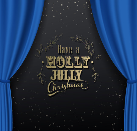 Merry Christmas vector background with many snowflakes and blue curtain background. Illusztráció