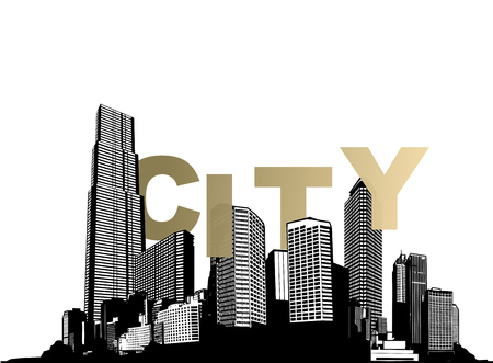 Black and white cityscape silhouette with skyscrapers and golden City word.