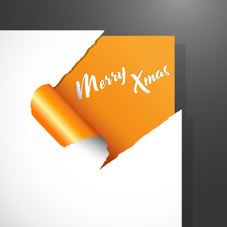 Christmas vector illustration paper corner cut out background with uncovered white Merry Xmas text.