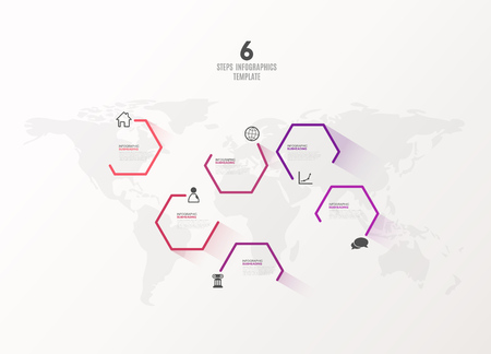Six colorful hexagon vector progress steps illustration with icons and place for your company information. It can be used for presentation, web design, quotes, survey, banner, study.
