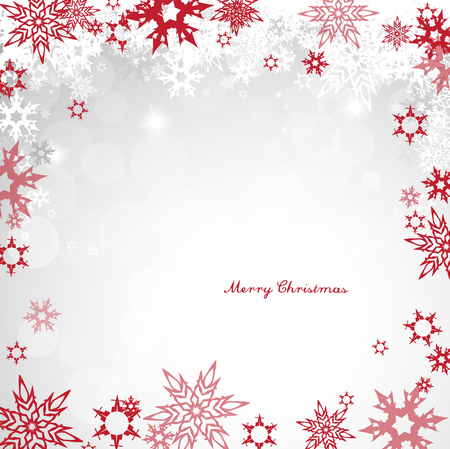 Christmas light vector background illustration with snowflakes and red Merry Christmas wishes.