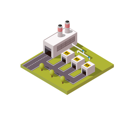 Simply low poly vector illustration background of industrial general factory.