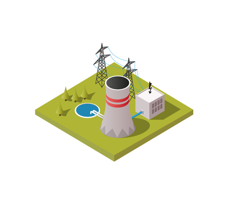 Simply low poly vector illustration background of nuclear power plant. Иллюстрация