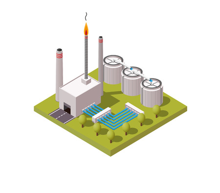 Simply low poly isometric vector illustration background of gas and oil industry general factory. Ilustração