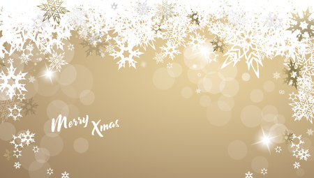 Christmas golden vector background illustration with snowflakes and Merry Christmas text Ilustração