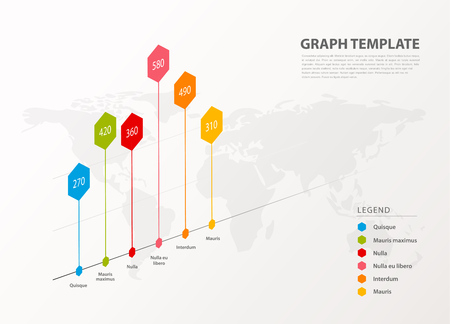 Infographic illustration vector background colorful graph with hexagons and figures inside.