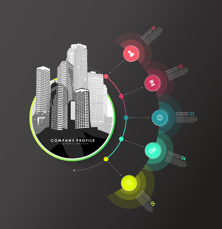 Infographic colorful milestones time line vector template with icons and skyscrapers. Illusztráció