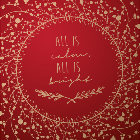 Golden luxury Christmas background with winter flower pattern and simple greeting holiday text - All si Calm All is Bright - season's greetings on white background.