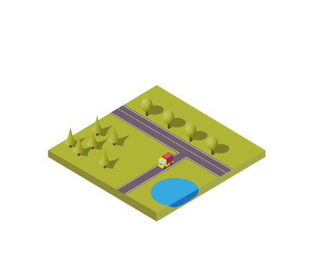 Isometric vector illustration background with nature scenery with truck moving on road near to pine forest and pond. Vektoros illusztráció