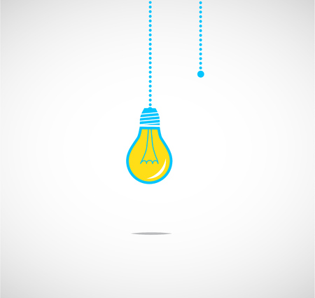 Hanging light bulbs vector illustration background reminding of an idea Çizim
