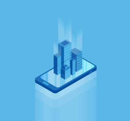 Isometric smartphone vector illustration template with skyscraper buildings coming out of the screen.