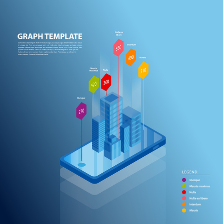 Isometric smartphone vector illustration background template with colorful charts coming out of the screen.