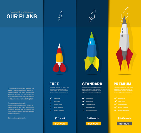 Illustration background for price comparison of services or products with illustrated rockets. Illusztráció