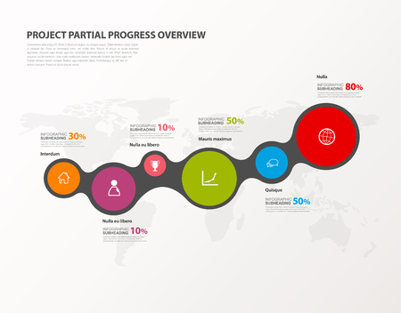 Project percentage progress overview graph vector illustration background with colorful circles shows the percentage milestones.
