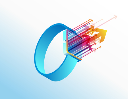 Isometric smart watch vector illustration background template with colorful arrows coming out of the screen. Ilustración de vector