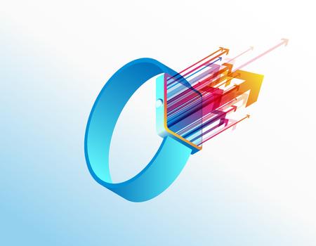 Plantilla de fondo de ilustración de vector de reloj inteligente isométrica con flechas de colores que salen de la pantalla. Ilustración de vector