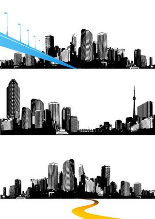 Conjunto de ciudades panorámicas en blanco y negro. Arte vectorial