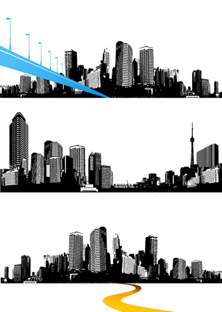 Set of black and white panorama cities. Vector art Çizim