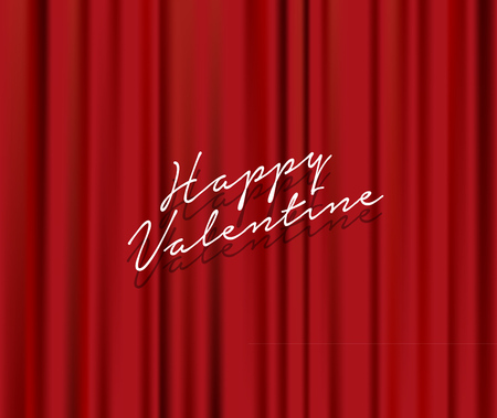 Lettering quote 'Happy Valentine' on abstract red theater background.