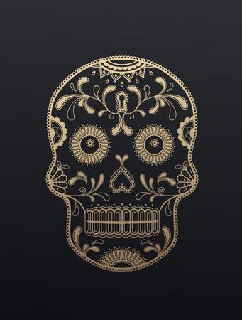 Golden Sugar Skull giorno dei morti illustrazione vettoriale su sfondo scuro. Vettoriali
