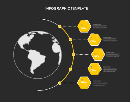 Infographic template with five hexagons and icons line up beside line map.