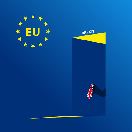 UK brexit vector illustration with open doors and quitting legs.