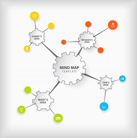 Vector mind map template with cogwheels and place for your ideas.