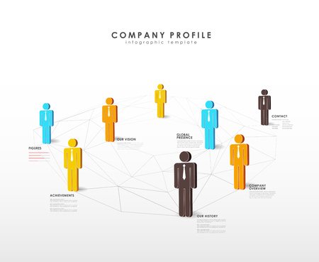 Infographic template with company team standing on low polygonal web. Illustration