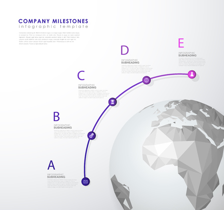 Infographic mind map vector template with polygonal world map and place for your comments.