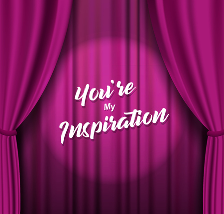 Theater stage with purple heavy curtain with text. Illustration
